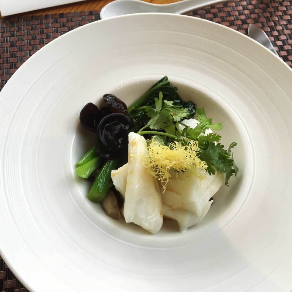 Atlantic Cod ~ Steamed, Baby Choy Sum, Black Fungus, Shimeji Mushrooms, Fried Ginger, Superior Soy Sauce
