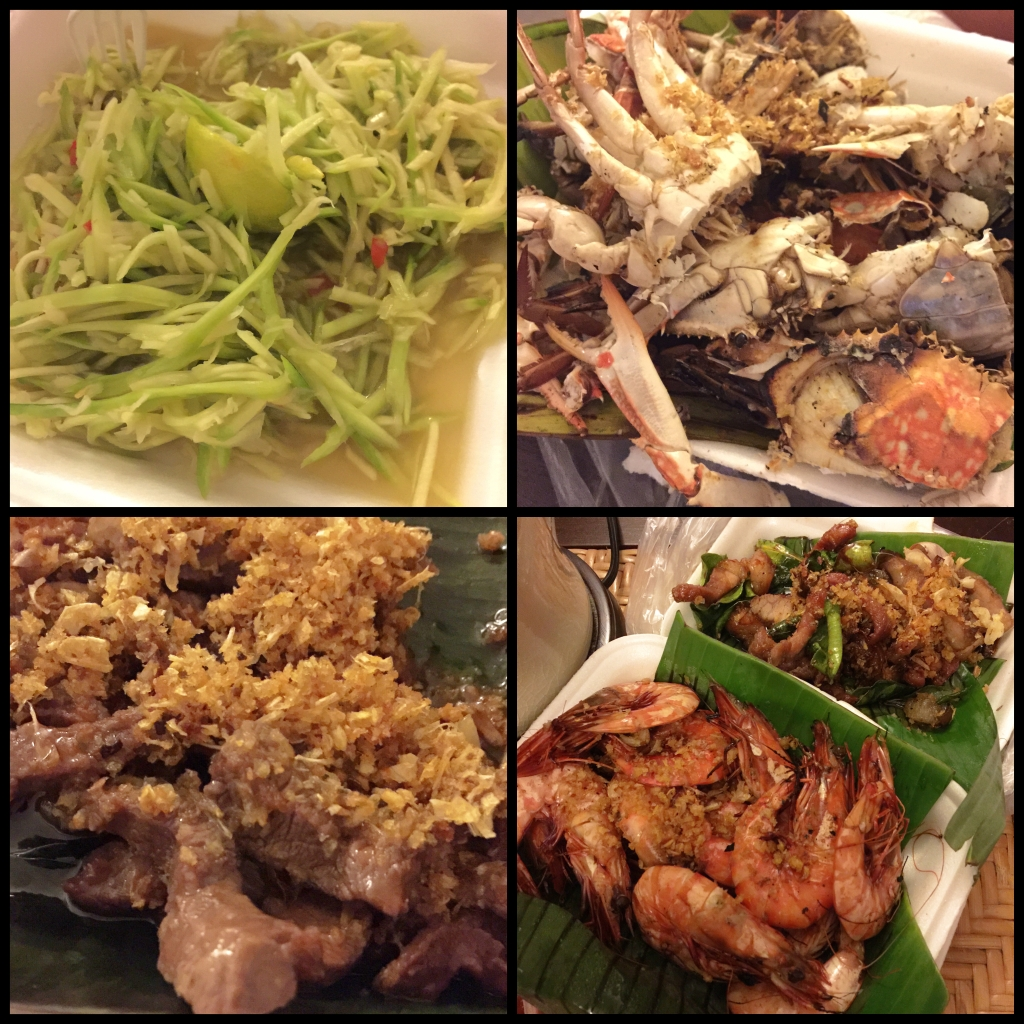 Our dinner - Spicy Mango Salad, BBQ Flower Crab, Stir Fry Beef, BBQ Prawns & Grilled Pork (B1,000)